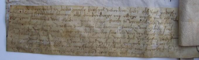 Akte van bevestiging van de oprichting van de Vicarie uit 1502, Links onder op de akte van bevestiging uit 1502: schenking van een grondrente