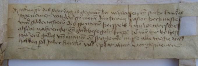 Akte van bevestiging van de oprichting van de Vicarie uit 15092, Links onder op de akte van bevestiging uit 1502: schenking van een grondrente