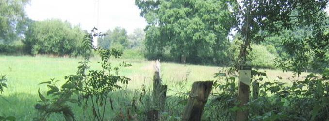 Zicht vanaf Landgoed Mentink, nabij kruising Grotersweg, spoorlijn naar Groenlo en het oude spoor (nu wandelpad). G4