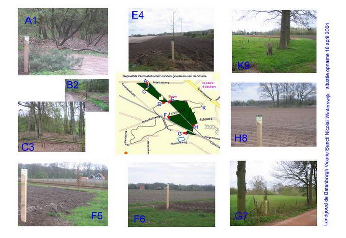 Situatie opname Landgoed De Batenborgh op 18 april 2004. De letters duiden de locatie van de foto's aan
