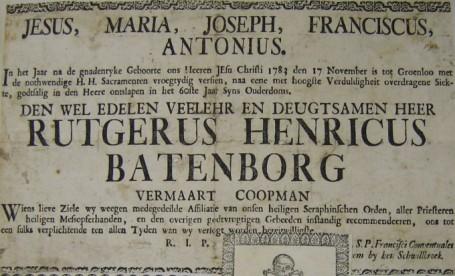 Plakaat met de aankondiging van het overlijden in 1783 van Rutger (van) Batenborg